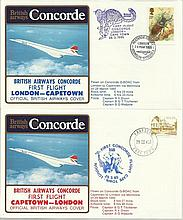 Concorde first flight London Capetown and return dated 28th and 29th March 1985.  Flown by Capt B G
