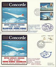 Concorde first flight Bahrain Hong Kong and return dated 2/3/4th March 1985.  Flown by Capt B O Walp