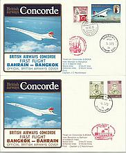 Concorde first flight Bahrain Bangkok and return dated 2/3/4th March 1985.  Flown by Capt J C Hutchi