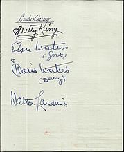 Elsie & Doris Waters, Nelly King, Walter Landauer signed vintage page. Good condition