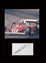 Nikki Lauder. Signature with picture in Formula 1 car. Professionally mounted in black to 16