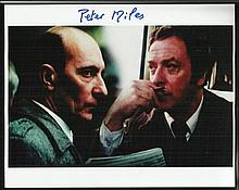 Colour 8x10 photo autographed by actor Peter Miles, seen here on screen with Michael Caine. Good con