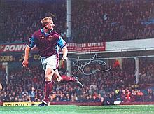 John Hartson signed photo. 16 x 12 inches colour action photograph autographed by West Ham legend Jo