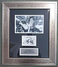 Barry Sheene autographed framed presentation. Lovely framed genuine autograph of Barry Sheene (1950