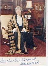 Betty Boothroyd, Speaker of the Commons. P/C portrait. Excellent.