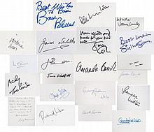 Autograph selection. A selection of signed cards. Mainly entertainment. Brian Blessed, Victoria Wood