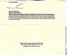 Vince Cable. Section of a letter, bearing the autograph of the Secretary of State for Business, Vinc