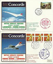Concorde first flight London Hong Kong and return dated 2/3/4th March 1985.  Flown by Capt B G T Tit