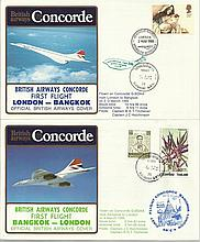 Concorde first flight London Bangkok and return dated 2/3/4th March 1985.  Flown by Capt B G T Titch