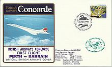 Concorde first flight Bahrain -Perth and return dated 13/14/15th February 1985.  Flown by Capt H C M