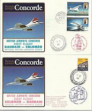 Concorde first flight Bahrain Colombo and return dated 15th February 1985.  Flown by Capt H C Mcmull