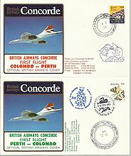 Concorde first flight Colombo -   Perth and return dated 14th and 15th February 1985. Flown by Capt