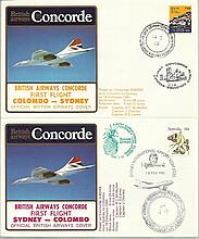 Concorde first flight Colombo Sydney and return dated 14th and 15th February 1985. Flown by Capt H C