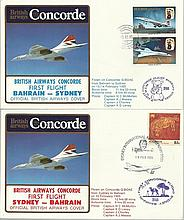 Concorde first flight Bahrain Sydney and return dated 13/14/15th February 1985. Flown by Capt H C Mc
