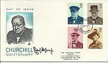 Richard Attenborough signed 1974 Winston Churchill FDC with Nottingham FDI postmark, rare. Good cond