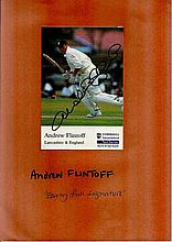 Andrew Flintoff signed Cornhill Insurance Test series card.  Good condition