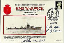 Commemorating loss of HMS Warwick signed Royal Naval cover 20/2/88.  Good condition