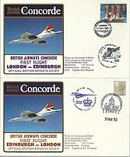 Concorde first flight London Edinburgh and return dated 29th and 30th November 1983.  Flown by Capt