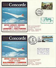 Concorde first flight London Baltimore and return dated 25th and 26th April 1985.  Flown by Capt C M
