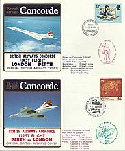 Concorde first flight London -   Perth and return dated 13/14 and 15/16 February 1985.  Flown by  Ca