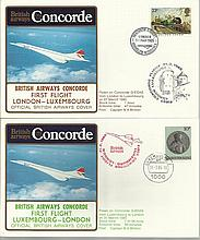 Concorde first flight London Luxembourg and return dated 31st March 1985.  Flown by Capt N A Britton
