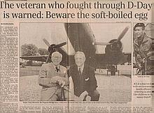 D -Day heroes Daily Telegraph article Thursday August 7, 1997 and the signatures of D-Day hero of Pe
