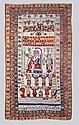 Rare Tapis Quasgaï à decor de personnage representant le Shah de Perse 237 x 150 cm (traces d'usures) Tapis daté 1331 de l'hegire, Fin du XIXème siècle soit environ 1870. A décor original du roi de Perse, central, encadré de personnages, serviteurs,