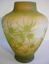 Vase en pâte de verre à décor de paysage, signé GA
