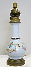 Lampe en porcelaine à fond bleu. Epoque Nap III haut 37 cm