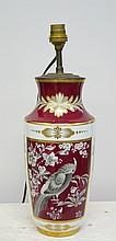 Lampe en porcelaine de Limoges à décor d'oiseau haut 27 cm