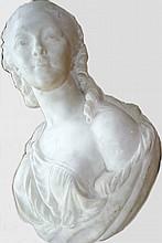 Buste de femme en marbre de Carrare sur pied, fin XIXème haut 60 cm