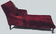 Méridienne en velours rouge Epoque Nap III 95x66x145 cm