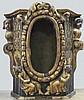 Elément de tabernacle en bois doré et polychrome à décor d'angelots. Italie Epoque XVIème 86x77x48 cm