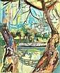 Robert HANES Péniche sur la Seine Aquarelle Signé