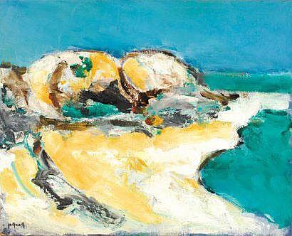 Ion PACEA Marine à la plage (c.1984) huile sur