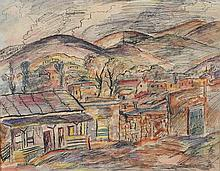 Alfred Gwynne Morang  (American, 1901-1958) - New Mexico village scene - signed lower right