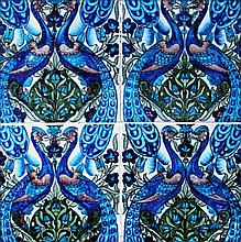 William De Morgan, a framed group of four tiles,
