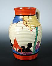Summerhouse, a Clarice Cliff Bizarre Fantasque Lotus jug,