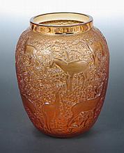 Lalique, a modern Biches pattern vase,