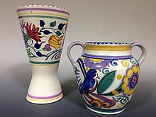A Poole Pottery twin handled vase,