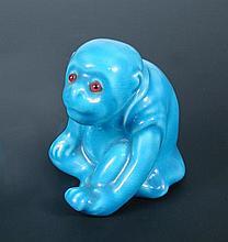 A Bernard Moore turquoise glazed monkey,