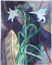 § Lindy Guinness, Marchioness of Dufferin and Ava (Irish, b.1941) Still life of Easter Lilies signed and dated lower right