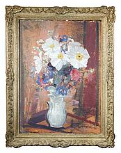 § Edmund Blampied, RBA, RE (British, 1886-1966) Still Life of White Japanese Anemones in a vase signed lower right