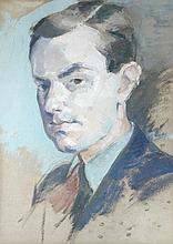 § Marjorie Tulip (Trekkie) Parsons (nee Ritchie) (British, 1902-1995) Portrait of a young man, head and shoulders, wearing a collar...