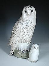 A large Royal Copenhagen model of a Snowy Owl,