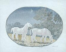 § Gwen Raverat (British, 1885-1957) Two Horses in Moonlight signed lower right