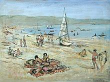French School (20th Century) Beach scene, south of France signed indistinctly lower right