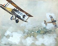 § Geoffrey Watson (British, 1894-1979) Fokker Straffing, 1916 - an encounter between two World War I aircraft signed and dated