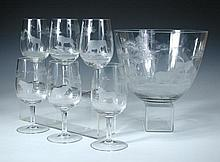 Moser Glass for Rowland Ward, an etched glass bowl and eight wine glasses,