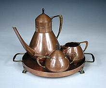 A W.M.F copper plated tin Turkish coffee set,